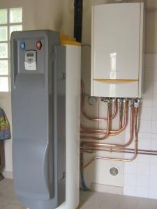 Chaudière gaz DE DIETRICH et préparateur d'eau chaude solaire
